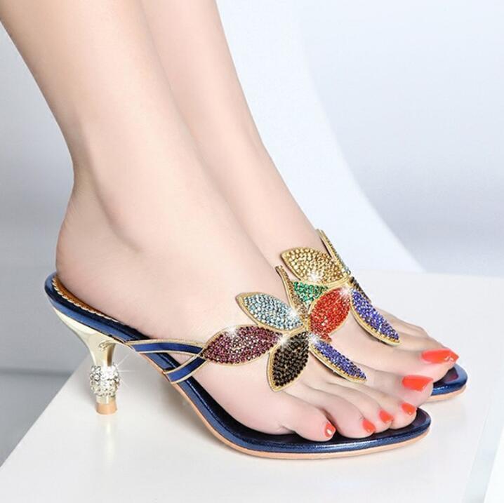 Womens Rhinestones Slipper Sandals Flower Stilettos Heels Flip Fashion Flops Fashion Flip a5e565