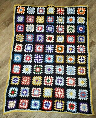 Vintage Multi-Colored Granny Square Afghan Throw Crochet Knit Blanket 65 x 44 FREE SHIPPING