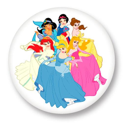 Magnet Aimant frigo Ø38mm Princesse Walt Disney Aurore Ariel Cendrillon Belle ..