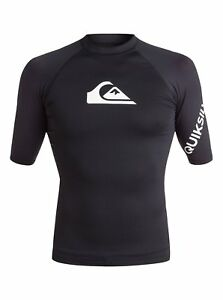 QUIKSILVER-MENS-RASH-VEST-NEW-ALL-TIME-BLACK-UPF50-GUARD-T-SHIRT-TOP-8W-33-KVJO