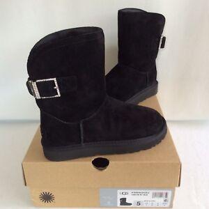 96d4a5e0a36 Details about NIB UGG Australia Remora Buckle Bling Crystal Boot Short  Black Sheepskin US 5