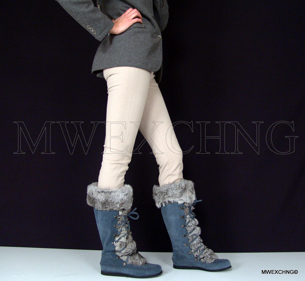 Cesare Paciotti Fashion Womens Suede Boots Mukluks Natural Rabbit Trim