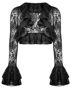 Dark In Love Gothic Bolero Shrug Top Black Floral Lace Steampunk VTG Victorian