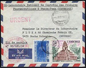 Kambodscha-Khmere-1972-Luftpost-Brief-Pharmazie-Khmer-Tempel-in-die-Schweiz-24