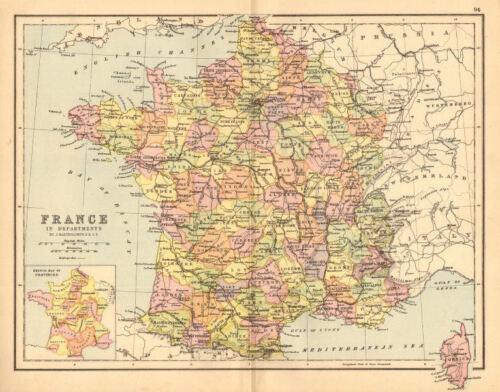 /'France/' BARTHOLOMEW 1876 old antique map plan chart Departements Railways
