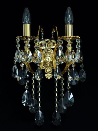 KRISTALL WAND LAMPEN IN GOLDFARBEN ECHTES BLEI-KRISTALL Kronleuchter verf.