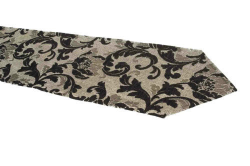 Table Runner Black Silver Luxury Flora Chenille Choice of 4 Lengths