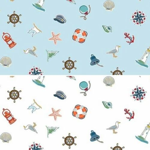 Makower Marina Icons Scatter Sailor Sights Seaside Ocean 100/% Cotton Fabric