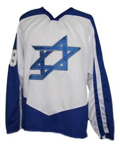 Any Name Number Size Team Israel Retro Custom Hockey Jersey White
