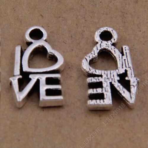 100pc Retro Colgante Tibetano Plata Corazón Amor Pulsera Charms Accesorios P200