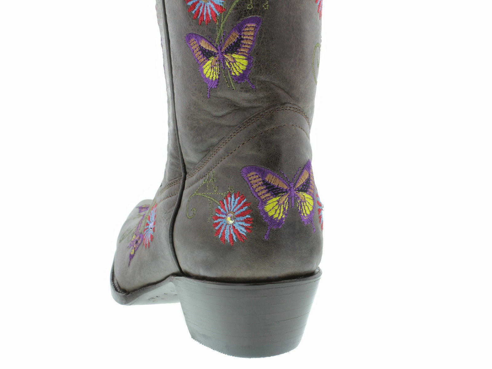 Womens Dark Brown Western Cowboy Leather Boots Boots Boots Casual Butterfly Flowers Snip Toe f52c76