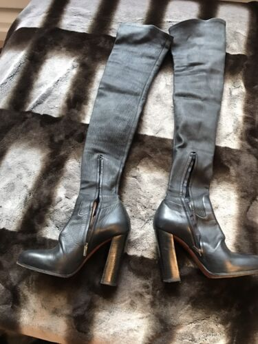 Thigh Leather Over amp; Knee Stack Celine In Black Stretch Heel High Boots UqpxOX
