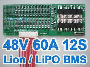 44V 48V 50.4V 12S 60A Lthium ion Li-ion LiPo Li-Polymer Battery BMS PCB System