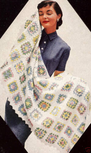 Vintage Crochet PATTERN to make Baby Blanket Granny Square Afghan Block Orlon
