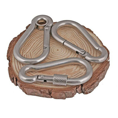 M4~M12 304 Stainless Steel D Shape Screw Lock Carabiner Clip Snap Hook Ring New