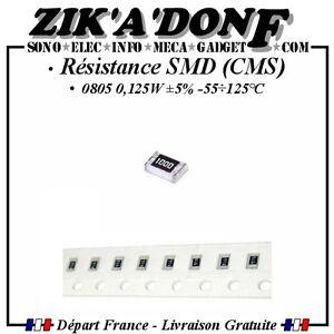 Resistances-SMD-0805-CMS-1-8-de-watt-0-125W-5-55-125-C-par-10-20-30-40-50