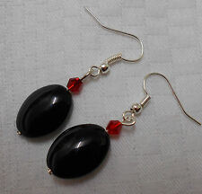 Unique handmade black onyx earrings silver plated oval beads with free stoppers