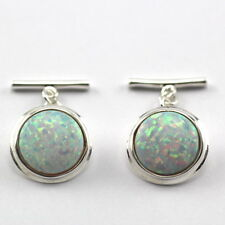 ANTIQUE STYLE WHITE OPAL CUFFLINKS 925 STERLING SILVER MENS GIFT CHRISTMAS