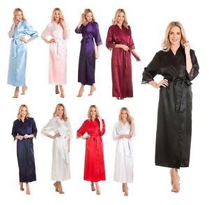 efbf7581e3 Ladies satin robe wrap dressing gown kimono housecoat cover up plus ...