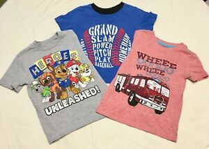 Lot-of-3-Summer-T-shirt-Carter-039-s-Cat-amp-Jack-2T-3T-Graphic-Gray-Blue-Red