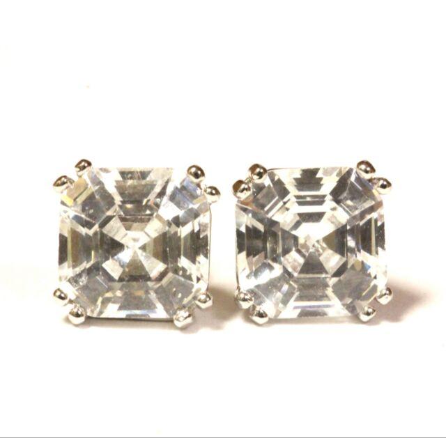 925 Sterling Silver 8mm Asscher cut cubic zirconia cz stud earrings 3.1g