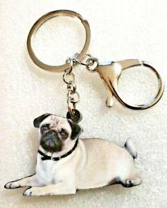 4dc7974d8da Pug Lying Down Realistic Dog Pup Acrylic Key Ring Keychain Jewelry ...