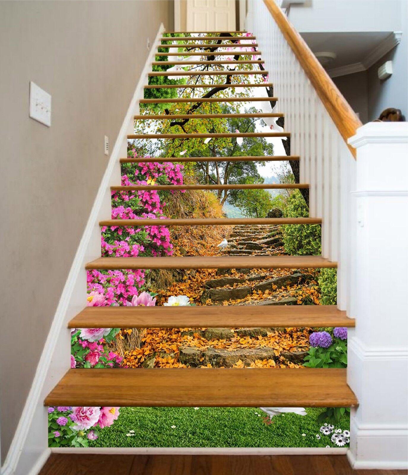 3D Flowers Steps Stair Risers Decoration Photo Mural Vinyl Decal Wallpaper UK