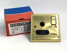 MK GROSVENOR 15A 1G DP ROUND PIN SWITCHED SOCKET POLISHED BRASS  K4383 POBCB