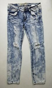 Women-039-s-Machine-nouvelle-mode-Distressed-Bleached-Skinny-Jeans-Size-29-1033