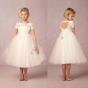 a785d772fbf2 Image is loading Vintage-Girls-Kids-White-Flower-Princess-Formal-Party-