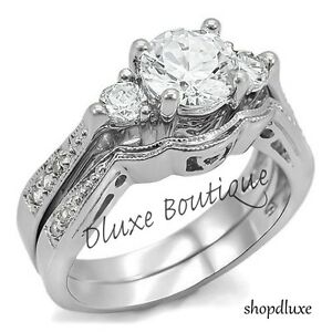 Women-039-s-Stainless-Steel-Round-Cut-AAA-CZ-Wedding-Ring-Set-Size-5-6-7-8-9-10