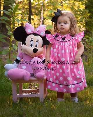 Smocked A Lot girls Minnie Mouse Pink Polka Dot Dress Birthday Ribbon Hair Bows!