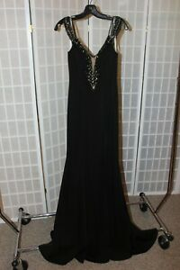 NWT Madison James 19-146 BLACK size 0 beaded/jeweled evening gown, $439