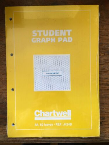 Chartwell A4 Student 5mm Isometric Paper Graph Pad 50 Sheet 70gsm Punched J424B