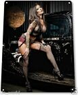 "TIN SIGN ""Black Widow"" Metal Decor Wall Art Pin-up Girl Auto Shop Garage A711"