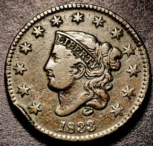 1833 Coronet Head Large Cent 1c Rotated Reverse High Grade Dark Color Type Coin
