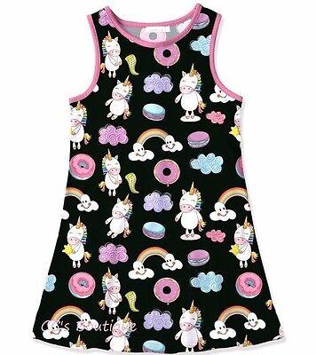 Girls SUNSHINE SWING unicorn sundress 2T 3T 4T NWT black donut rainbow dress