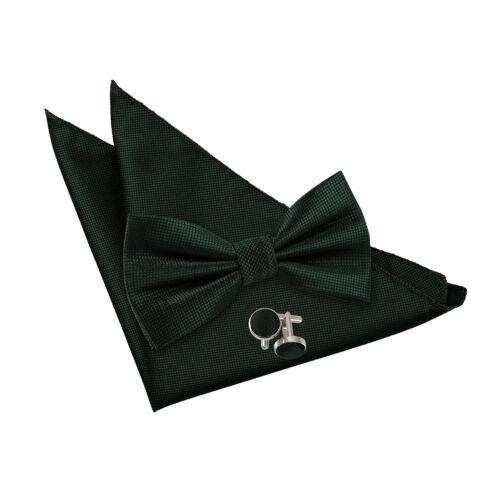 DQT tessuti Plain Solid CHECK VERDE SCURO Pre-Legato Bow Tie Hanky gemelli set