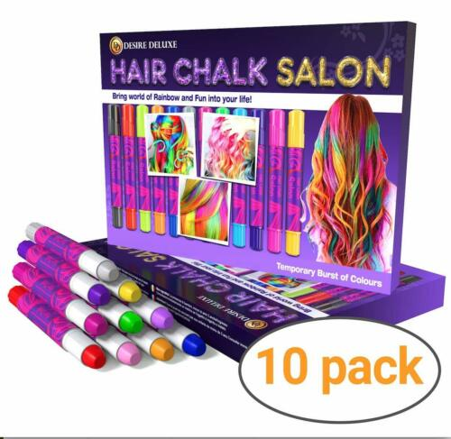 Desire Deluxe Girls Gifts Hair Chalk Gift for Girls 10 Temporary Non-Toxic Ea