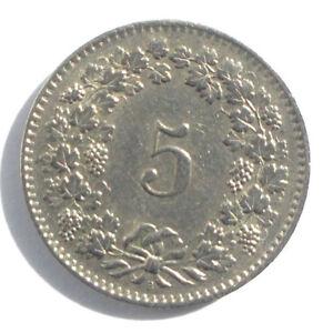 1958-Swiss-5-Rappen-Switzerland-Helvetia
