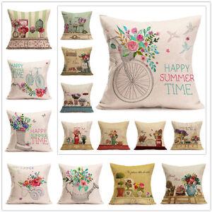 Vintage-Flower-Print-Home-Decor-Throw-Pillow-Case-Sofa-Bed-Waist-Cushion-Cover