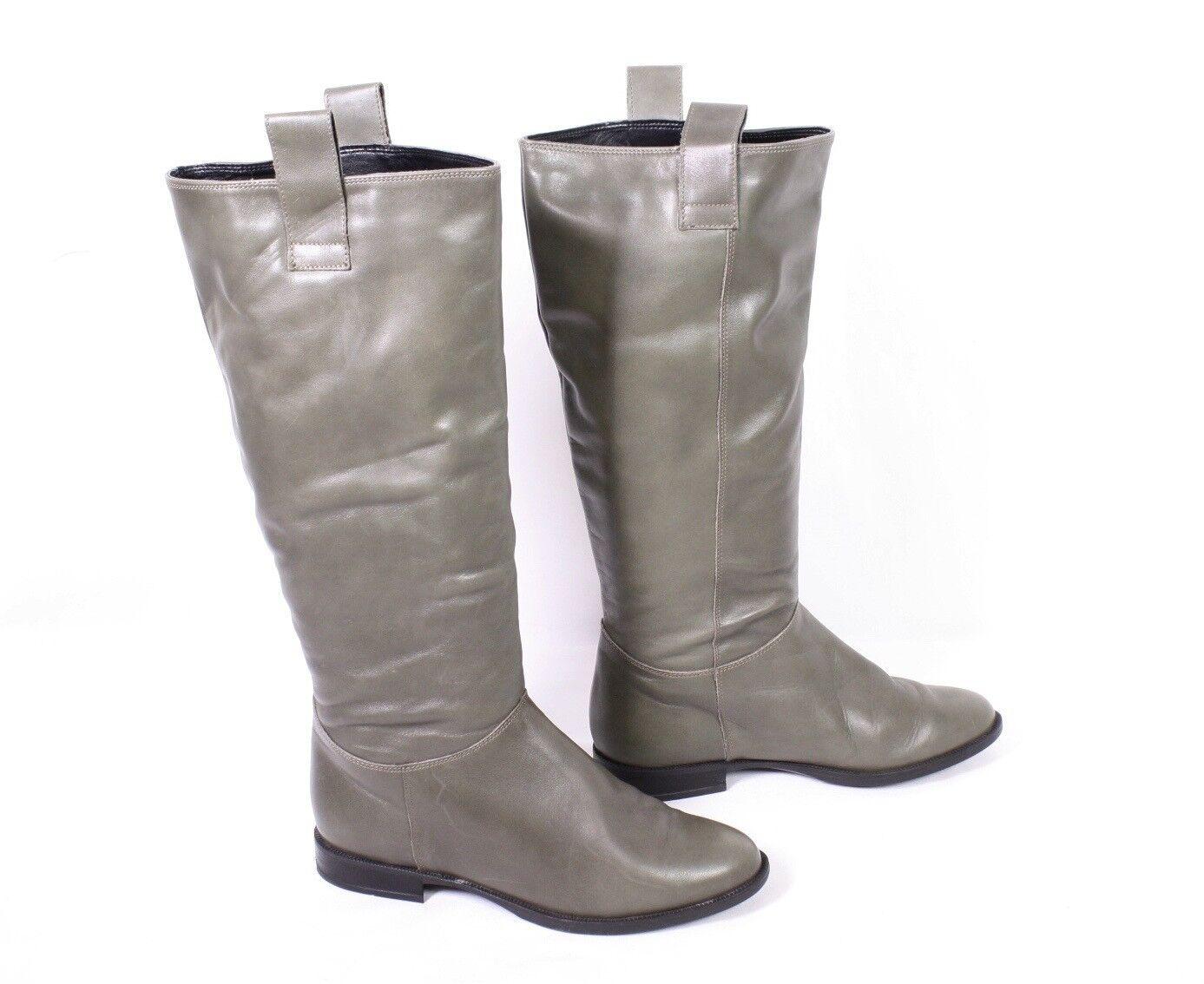 32s yessica botas talla 38 de cuero caqui jinete look plana apartado de lejos