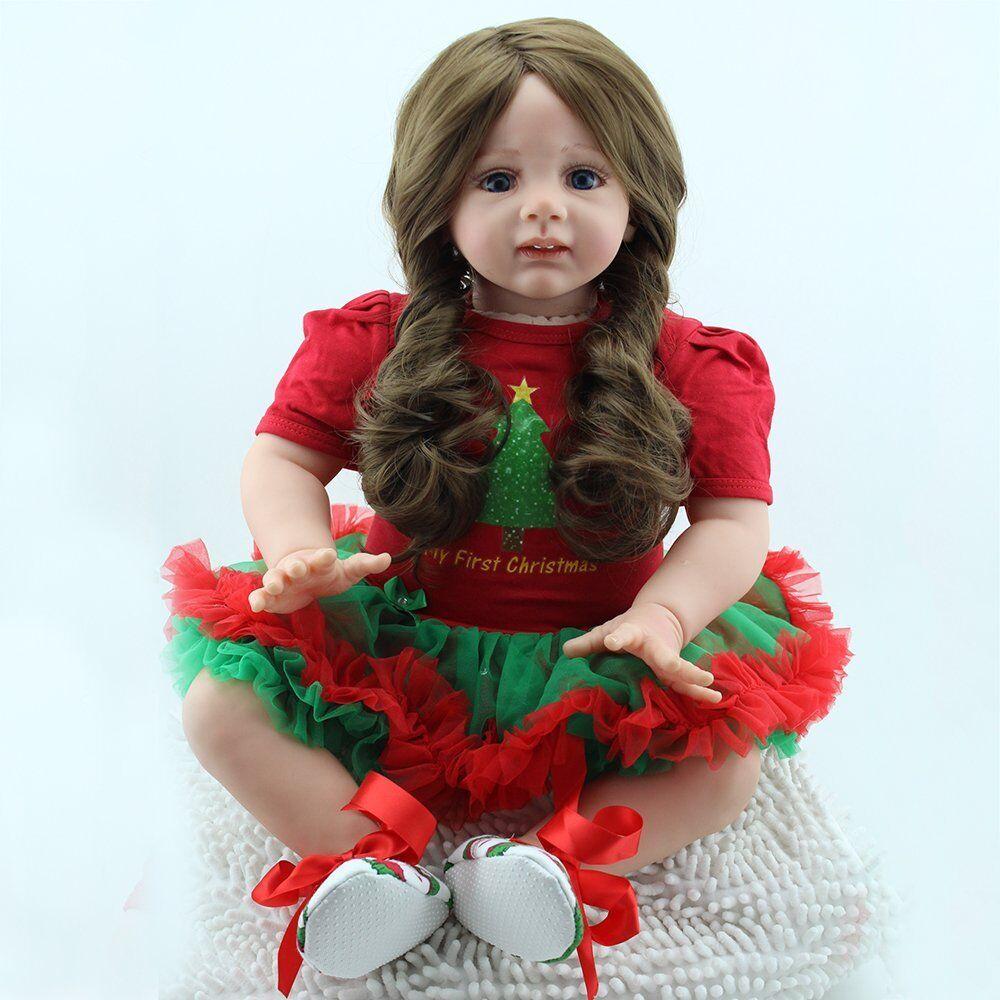 Artista de Silicona Reborn Bebé Niña 24  Muñeca de Juguete Niño Hecho a Mano Cumpleaños Regalo de Navidad nos