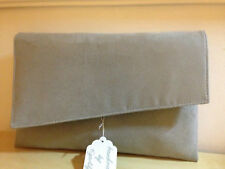 OVER SIZED GREY faux suede envelope clutch bag, fully lined BN .British made