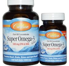 Carlson Labs, Super Omega·3 Gems, Fish Oil Concentrate, 1000 mg, 130 Soft Gels