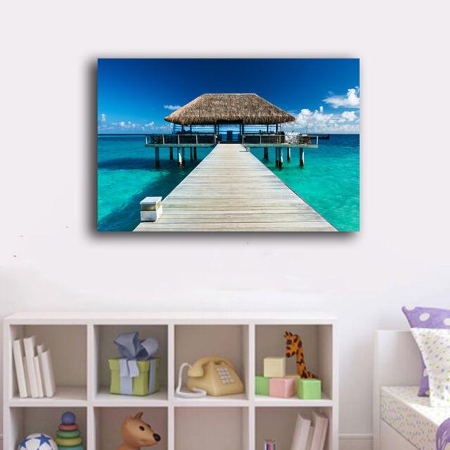 70×100×3cm Beach Side Wharf Canvas Print Framed Wall Art Home Decor Painting VII