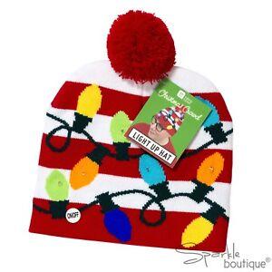 9e5436925b505 Image is loading LIGHT-UP-FLASHING-LED-CHRISTMAS-BOBBLE-HAT-Secret-