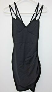 Pretty-Little-Thing-Women-039-s-Pascala-Double-Strap-Bodycon-Dress-US-0-Black-NWT