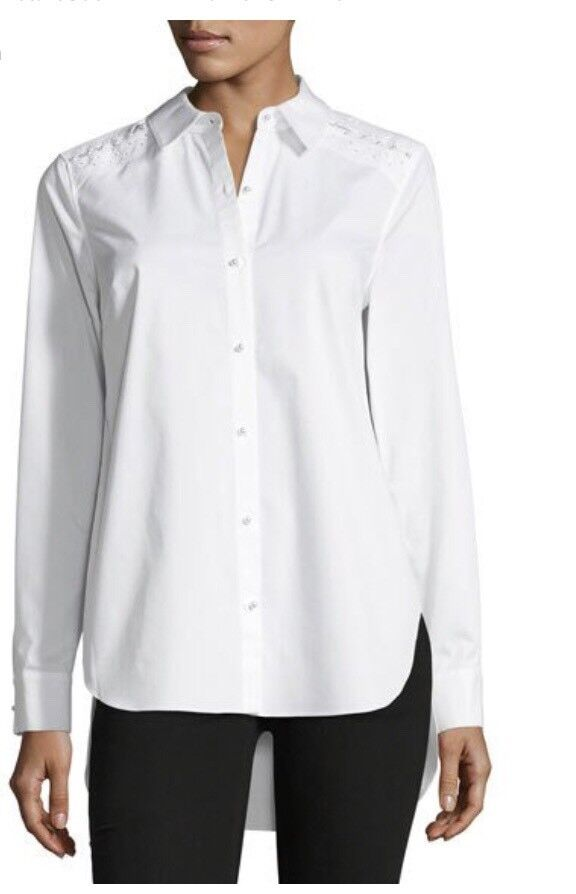 Elie Tahari Elina Long Sleeved Pearl Buttoned Blouse Xs R.r.p