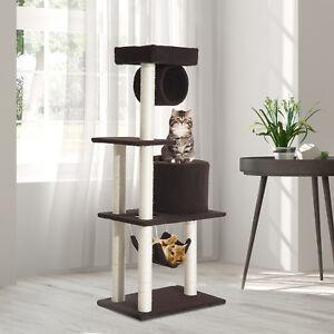 Árbol para gatos Rascador Grande con Plataformas Caseta Hamaca 140cm Cubierto de